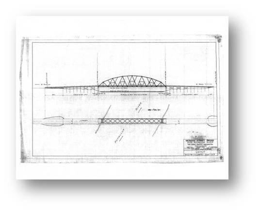 Puyallup River/ Meridian Street Bridge Design Elevation Drawing