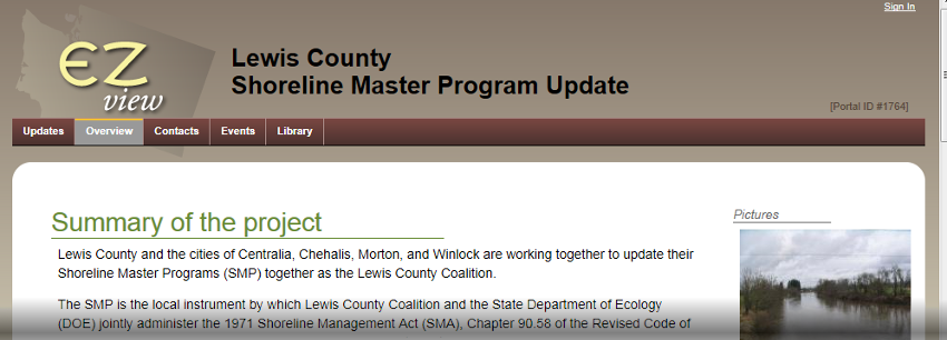 Lewis County Shoreline Master Program Update for Centralia, Chehalis, Morton, and Winlock